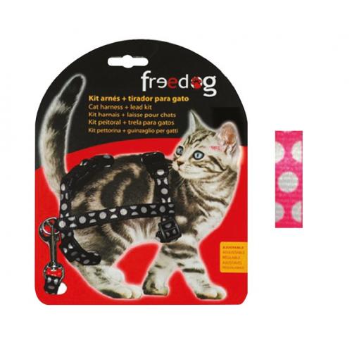 KIT Pettorina e Guinzaglio regolabile per gatto - FUCSIA