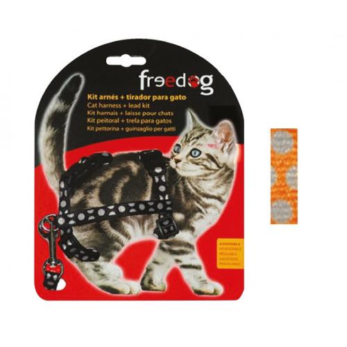 KIT Pettorina e Guinzaglio regolabile per gatto - ARANCIONE