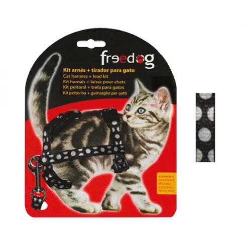 KIT Pettorina e Guinzaglio regolabile per gatto - NERO