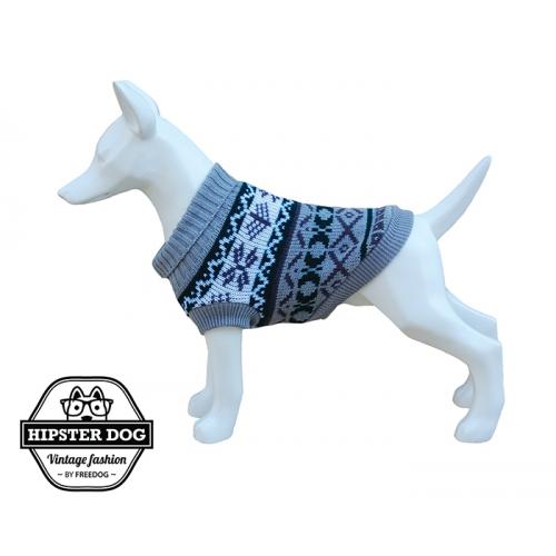 Cappottino in lana per cani vintage Hipster grigio